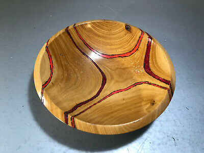 Vtg Handcarved Wood Bowl Bald Cypress red design Fred Wilson 8.75""
