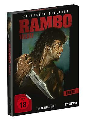 RAMBO Teil 1 2 3 TRILOGY UNCUT Sylvester Stallone FIRST BLOOD Auftrag 3 DVD Box