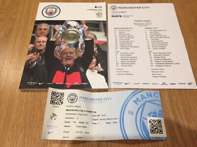 Manchester City V Cardiff Premier League 2018-19 With Teamsheet & Ticket