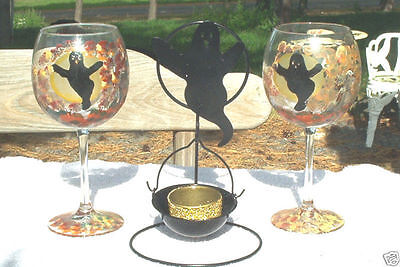 Halloween Ghost Handpainted Wine Glasses With Matching Ghost Tealight Candle Hld