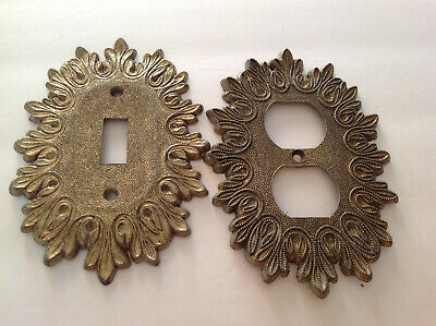 Vtg Ornate Filigree Single Switch Plate Cover & Outlet by EDMAR METAL/ BRASS lot
