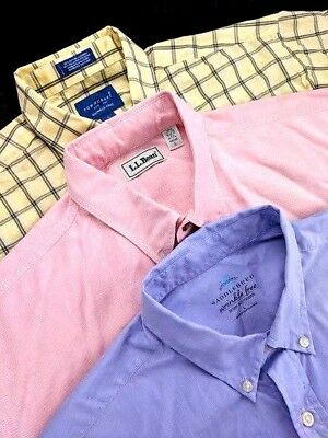 Lot of 3 LL Bean Saddlebred Vintage Short Sleeve Button Down Made In USA Large