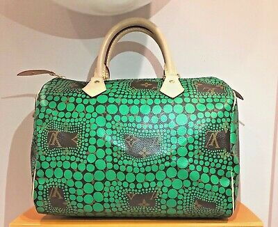 NEW! Auth Louis Vuitton Green Monogram Town Speedy 30 Yayoi Kusama Collection