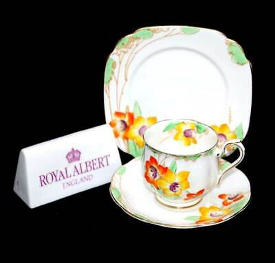 Vintage Royal Albert Crown China 1930s Daffodil pretty art deco teacup trio