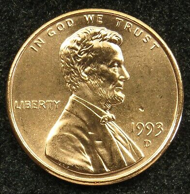 1993 D Uncirculated Lincoln Memorial Cent Penny BU (B03)