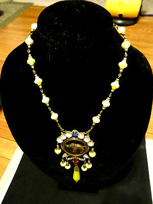 Vintage Art Deco CZECH Yellow & Multi-color Crystals Egyptian Revival Necklace J