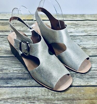 0681e695d5e Anthropologie Jeffrey Campbell Jayda wedge sandals shimmer buckle shoes  size 8