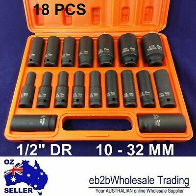 "18 Pcs 1/2"" Inches Dr Drive Deep Impact Socket Set 10 - 32 Mm Metric Heavey Duty"