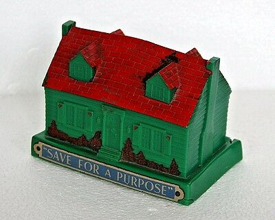 Vintage antique plastic green Colonial House still bank