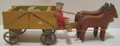 Old Wooden Hand Carved German Erzgebirge Horse Drawn Stone Wagon Christmas Putz