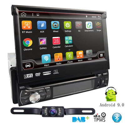 "Single 1DIN 7"" Android 9.0 Flip Up GPS Navigation Car Stereo Radio CD DVD Player"