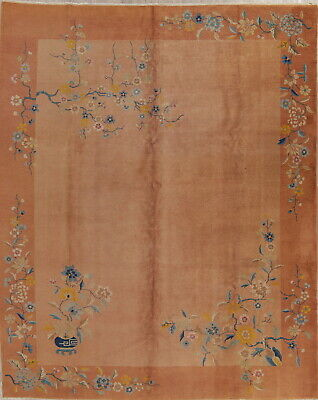 ANTIQUE Floral Art-Deco NICHOLS Chinese Oriental Hand-Knotted 10'x13' Area Rug