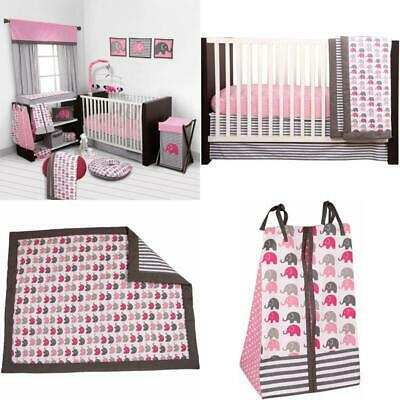 61df45285 Bacati - Elephants Pink/Gray 10-Piece Nursery In A Bag Crib Bedding Set