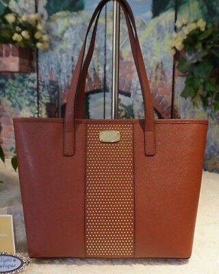 5297d6b26bfa NWOT MICHAEL KORS MICRO STUD Center Stripe SMALL Travel Tote BRICK Leather  $298