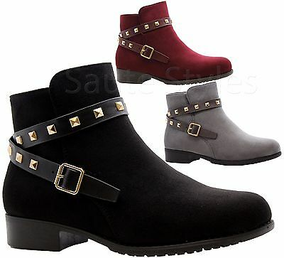 8d120070f5d Ladies Womens Studs Block Heels Office Flat Ankle Strap Chelsea Boots Shoes  Size