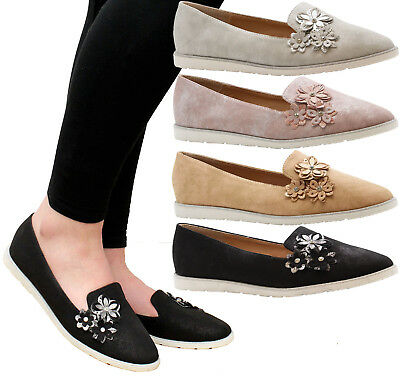 Ladies Womens Casual Slip On Flats Flower Loafers Office Pumps School Shoes Size