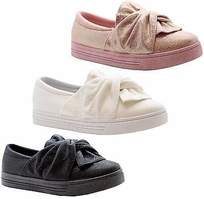 Girls Kids Children Knot Bow Skater Pumps Sneakers Plimsolls Shoes Trainers Size