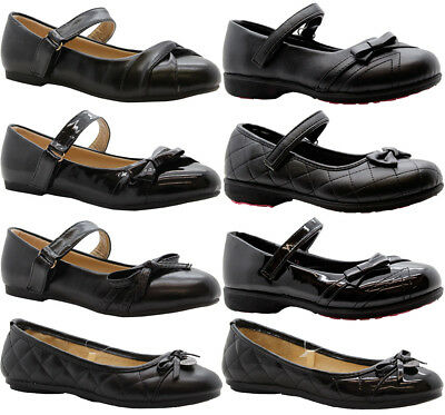 Girls Back To School Shoes Kids Strap Party Formal Low Heel Ballerina Pumps Size