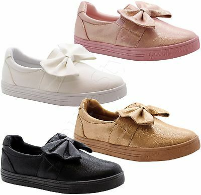 98c08f1fe815e Ladies Women Flat Plimsolls Slip On Bow Pumps Trainers Sneakers Shoes Boots  Size