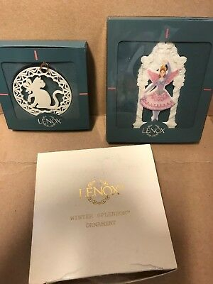 Lot of 3 LENOX Ornaments with boxes Cat, Sugar Plum Fairy, Winter Splendor Star