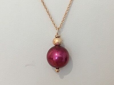 """Burgundy Freshwater Pearl & Bead Pendant on 18"""" Rose Gold Filled Trace Chain"""