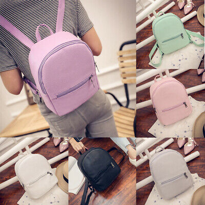 Women Fashion Solid Color Faux Leather Backpack Small Tote Shoulder Bag Trendy