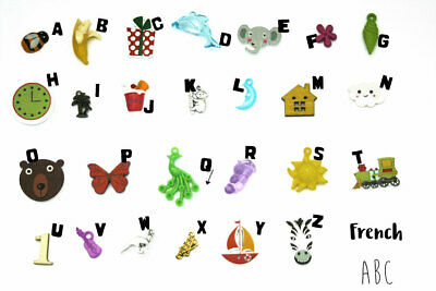 Multilingual ABC trinkets by TomToy, 1.5-3cm, 1 object per letter