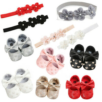Baby Girl Lovely Embroidery Leather Toddler First Walkers Kid Shoes+1PC Hairband