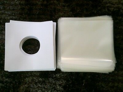 """200 Outer Plastic Record Cover + 100 Heavy Paper Sleeves For 7"""" 45 'S Vinyl"""