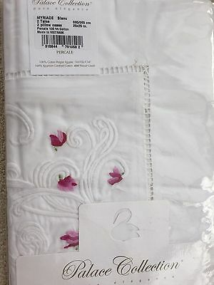 YVES DELORME MYRIADE BLANC EMBRIODERED Pair of EURO Pillowcases LUXURY
