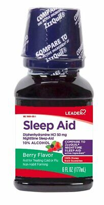 Leader Nighttime Sleep Aid Berry Flavor 6 Ounce *Compare to ZzzQuil*, 7 Pack