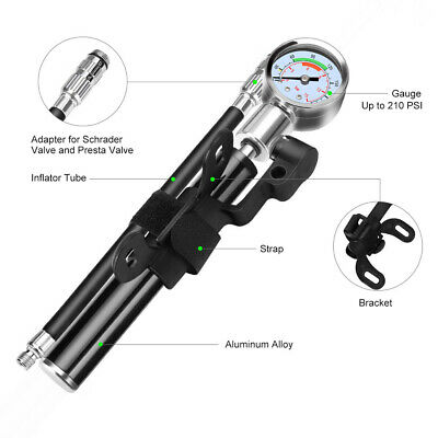 Heavy Duty Floor Standing Bike Cycle Bicycle Tyre Hand Air Mini Pump Gauge 2019