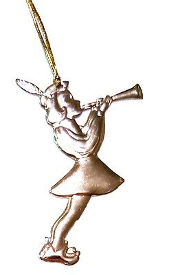 """Lovely 2"""" Brass Tin Angel Ornament Christmas Tree Holiday"""