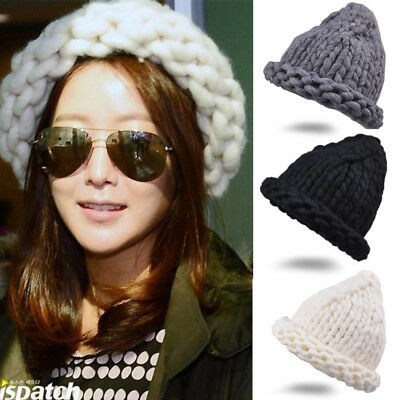 Handmade Thick Knitted Hat Fashion Wool Cap Women Casual Warm Winter Autumn Hats