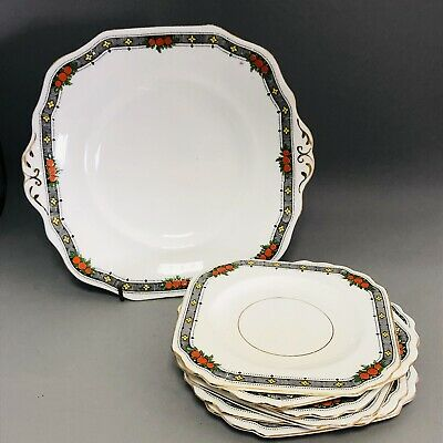 Vintage Art Deco 1930s English afternoon tea cake square plate set black orange