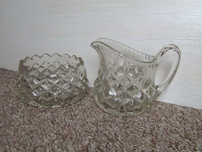 Heavy Thick Cut Glass Milk Jug and Sugar Bowl Kitsch Art Deco Trend