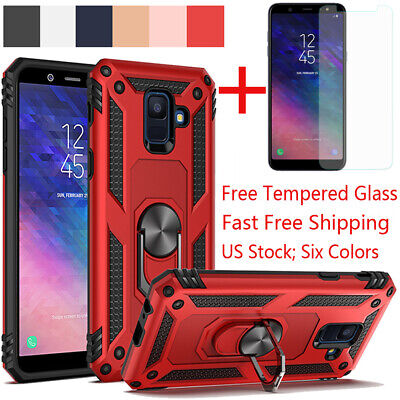 For Samsung Galaxy J4/J6 Plus A6 2018 Stand Armor Dual Hard Case+Tempered Glass