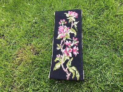 Vintage Old Tapestry Embroidered Picture Hand Stitch Panel Floral Flowers