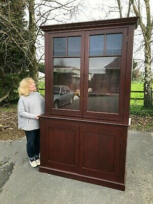 Large Antique Glazed Library Bookcase Cupboard Shelves With Stained Glass Panels