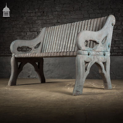 19th C Gothic Pugin Revival Solid Slate Bench