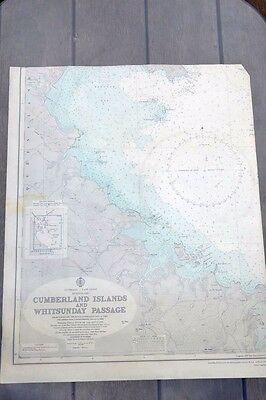 Vintage map Cumberland Islands & Whitsunday passage Maritime QLD 1960 Industrial