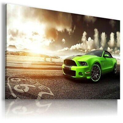 UNFRAMED FORD MUSTANG GREEN Cars Large Wall Canvas Picture ART AU619 MATAGA