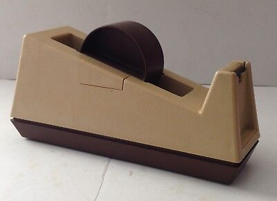 Tape Dispenser 3M Large Scotch Tape Brown Tan C-25 USA Model 28000 Weighted