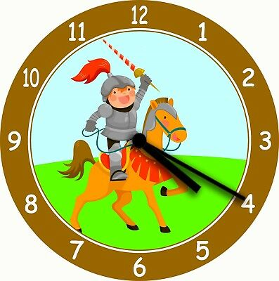 NOVELTY WALL CLOCK - Knight in Shining Armour Design (2) - Childrens Wall Clock