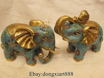 "7"" Chinese Cloisonne bronze Gilt Elephant Hold Ruyi Heffalump Animal Statue Pair"