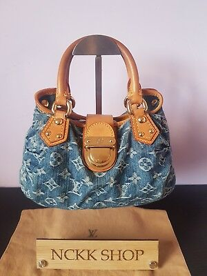 a80efa4d07aaa 100% Authentic Louis Vuitton Monogram Denim Pleaty Hand Bag M95020