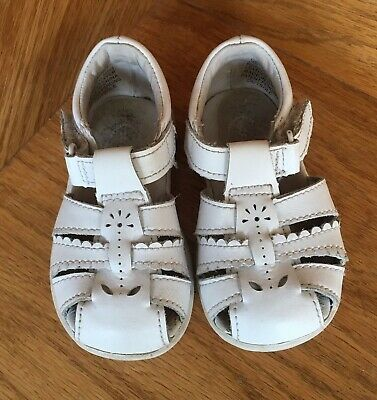 c577500a8501 Stride Rite baby toddler girl white leather sandals shoes size 4.5 summer  spring