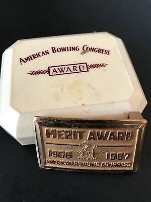 Vintage AMERICAN BOWLING CONGRESS Belt Buckle 1966-67 Merit Award 675 Pins