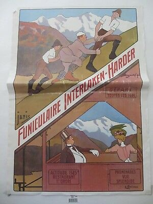 Vintage Swiss Travel Poster - Funiculaire Interlaken - Harder @ 24 x 16