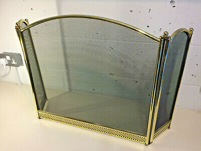 Free Standing 3 Panel Folding Fire Guard with Safety Spark Mesh Vintage